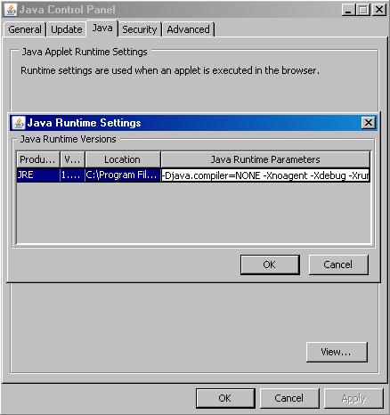 Java Plugin - Runtime Settings
