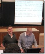 Svetlin Nakov and Mihail Stoynov teaching software technologies