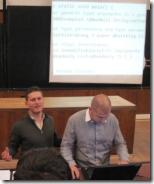 Svetlin Nakov and Mihail Stoynov teaching software technologies