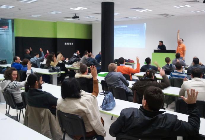Steven Forte and Joel Semeniuk at Scrum seminar in Sofia