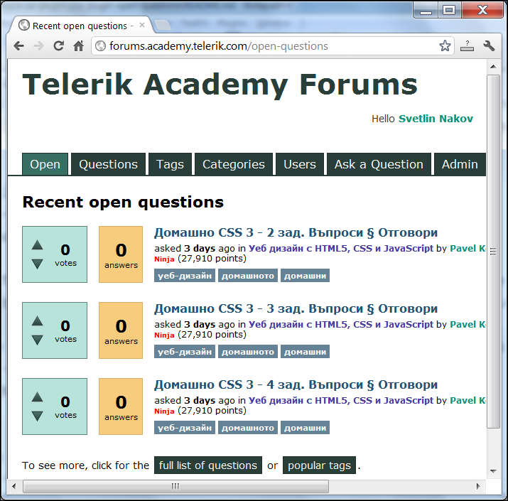 "Q2A plugin ""Open Questions"" by Svetlin Nakov - Screenshot"