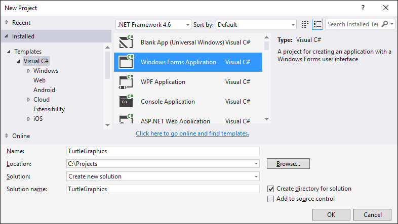 Create Windows Forms App in Visual Studio